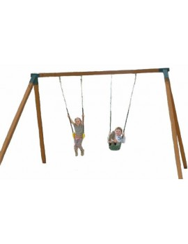 Swing Frame Double Cypress posts steel corners and hangers  Freestanding Stained