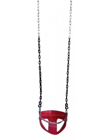 Half Bucket Soft Red Rubber Swing Seat with Chains