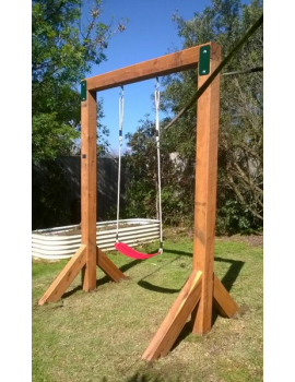 Swing Frame Single in ground Cypress dressed 125 x 125 single with hangers Stained