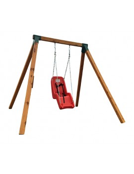 Swing Frame Single treated pine posts steel corners and hangers  Freestanding   Stained