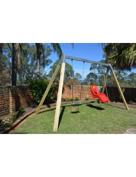 Swing Frame Double  Steel top beam Cypress posts and hangers  in Ground