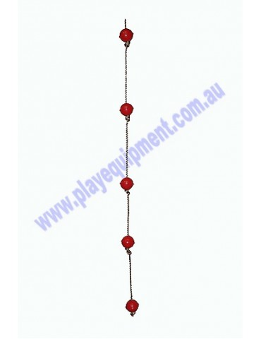 Ball Rope with 5 RED abacus balls