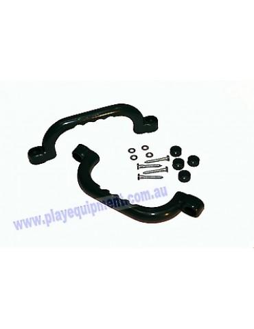 Short Plastic Handle Grip GREEN 23 cm Pair
