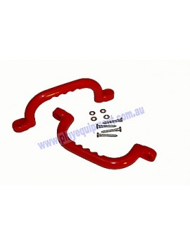 Short Plastic Handle Grip RED 23cm pair