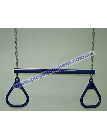 Trapeze Bar with Triangle Grips and Chains BLUE