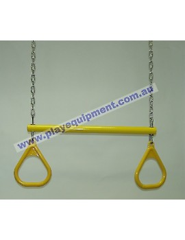 Trapeze Bar with Triangle Grips and Chains YELLOW